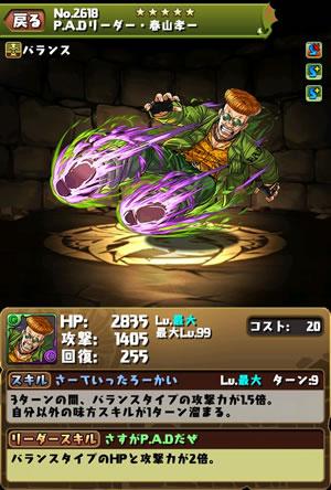 2618P.A.Dリーダー・春山孝一(パルコ)のステータス